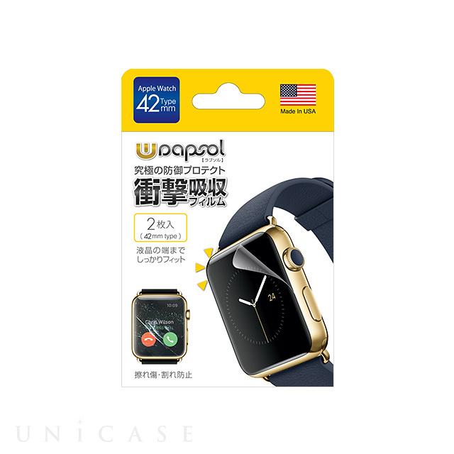 【AppleWatch Series3/2/1(42mm) フィルム】Wrapsol ULTRA Screen Protector System - 衝撃吸収 保護フィルム 2枚セット