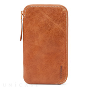 【iPhone6 Plus ケース】Leather Zip Wallet (Tan)