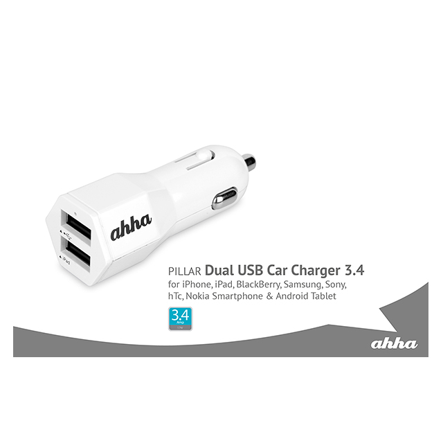 Dual USB Car Charger (PILLAR 3.4 (ホワイト)サブ画像