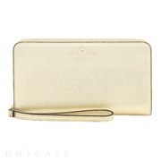 【スマホポーチ】Zip Wristlet Fits Most Mobile Phones (Saffiano Gold)