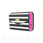 【スピーカー Bluetooth】Portable Wireless Speaker with Cover (Pink/Black/White Stripe)