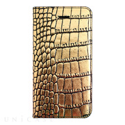 【iPhoneSE/5s/5 ケース】Gold Croco Diary