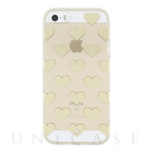 【iPhoneSE/5s/5 ケース】Hardshell Clear Case (Hearts Gold Foil/Clear)