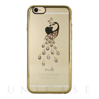 【iPhone6s/6 ケース】Rhinestone Rear Cover Case with Genuine SWAROVSKI Crystal Elements (Peacock/Clear/Gold)
