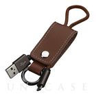 【MicroUSBケーブル】Leather MicroUSB Data Cable with Key Chain (Brown)