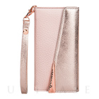 【iPhone7/6s/6 ケース】Leather Folio Wristlet Case (Rose Gold)