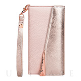 【iPhone8/7/6s/6 ケース】Leather Folio Wristlet Case (Rose Gold)
