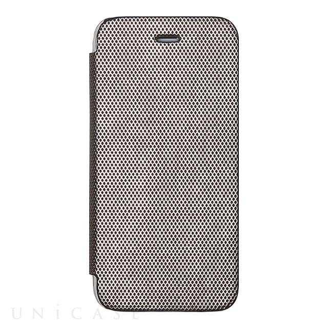 iphone8 7 ケース 背面クリア手帳型ケース metallic シルバー zenus
