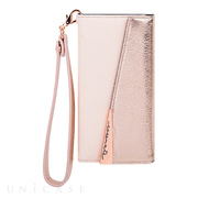 【iPhone8 Plus/7 Plus ケース】Leather Folio Wristlet Case (Rose Gold)
