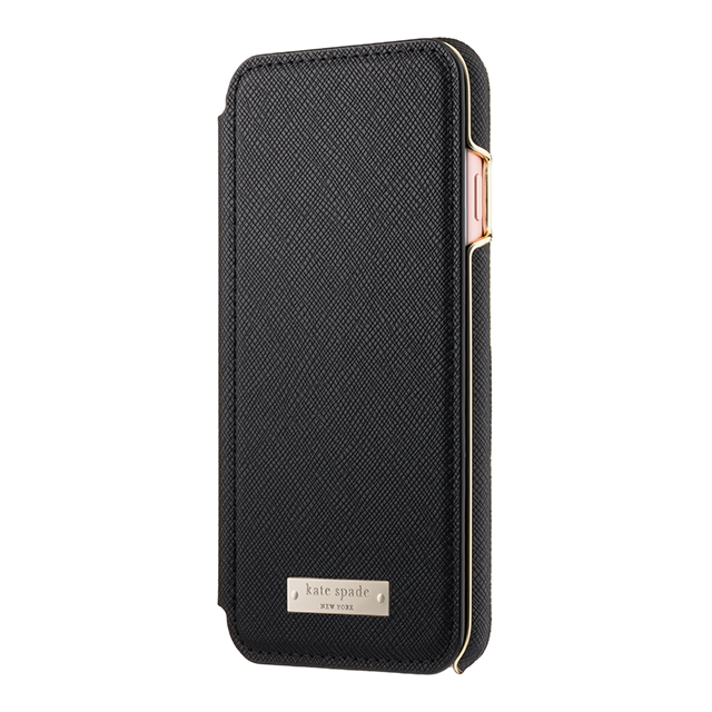 【iPhone7 ケース】Folio Case (Saffiano Black/Gold Logo Plate)サブ画像