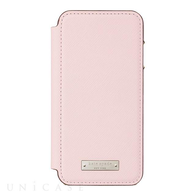 【iPhone8/7 ケース】Folio Case (Saffiano Rose Quartz/Gold Logo Plate)