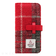 【iPhone8/7 ケース】Harris Tweed Diary (レッド×グレー)