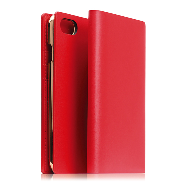 【iPhoneSE(第2世代)/8/7 ケース】Calf Skin Leather Diary (レッド)サブ画像