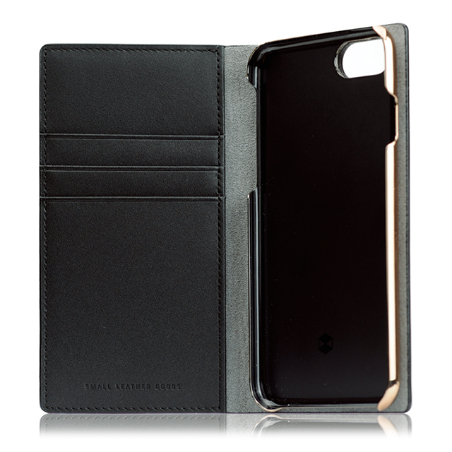 【iPhone8/7 ケース】Calf Skin Leather Diary (ブラック)