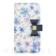 【iPhoneSE(第2世代)/8/7/6s/6 ケース】Flower Series wallet case for iPhone7/6s/6(Watery Blue)