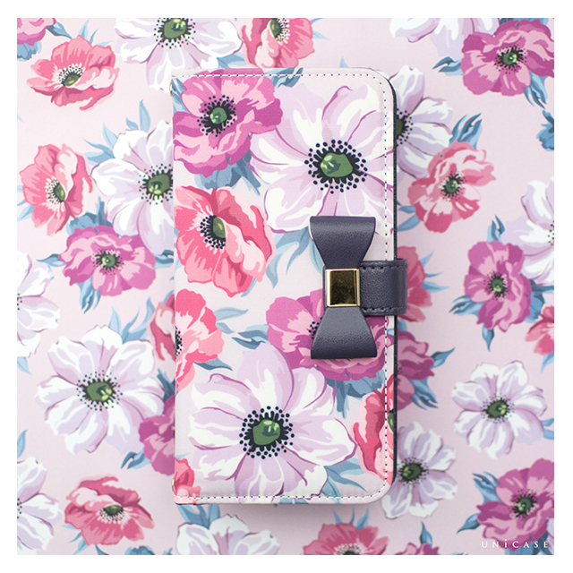 【iPhone8/7/6s/6 ケース】Flower Series wallet case for iPhone7/6s/6(Purple Anemone)サブ画像