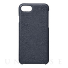 【iPhone7 ケース】Embossed Grain Leather Case (Navy)【レザー】