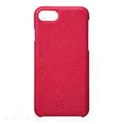 【iPhone8/7 ケース】Embossed Grain Leather Case (Red)