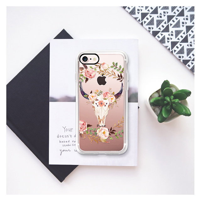 【iPhone7 ケース】Watercolour Floral Bull Skull