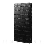 【iPhone8/7 ケース】Croco Patterned Full Leather Case (Black)