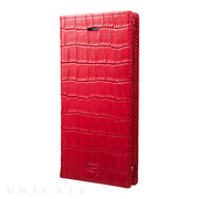 【iPhone8/7 ケース】Croco Patterned Full Leather Case (Red)