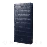【iPhone8/7 ケース】Croco Patterned Full Leather Case (Navy)