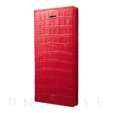 【iPhone8 Plus ケース】Croco Patterned Full Leather Case (Red)