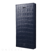 【iPhone8 Plus/7 Plus ケース】Croco Patterned Full Leather Case (Navy)
