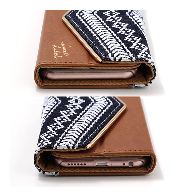 【iPhone8/7/6s/6 ケース】Folklore Denim Case (キャメル)