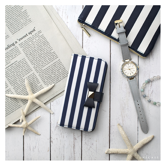 【iPhone8/7/6s/6 ケース】Ribbon Diary Stripe for iPhone8/7/6s/6 Navyサブ画像