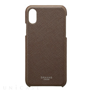 "【iPhoneX ケース】""EURO Passione"" Shell PU Leather Case (Brown)"