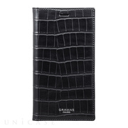"【iPhoneXS/X ケース】""EURO Passione Croco"" Book PU Leather Case (Black)"