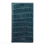 "【iPhoneXS/X ケース】""EURO Passione Croco"" Book PU Leather Case (Navy)"