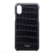 "【iPhoneX ケース】""EURO Passione Croco"" Shell PU Leather Case (Black)"