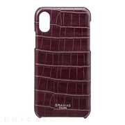 "【iPhoneX ケース】""EURO Passione Croco"" Shell PU Leather Case (Wine)"