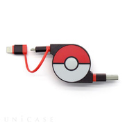 2in1 Retractable USB Cable with Lightning & micro USB POKEMON version 70cm (Red)