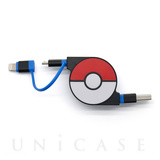 2in1 Retractable USB Cable with Lightning & micro USB POKEMON version 70cm (Blue)
