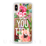 【iPhoneX ケース】Be YOU Tiful Watercolor Floral Glitter