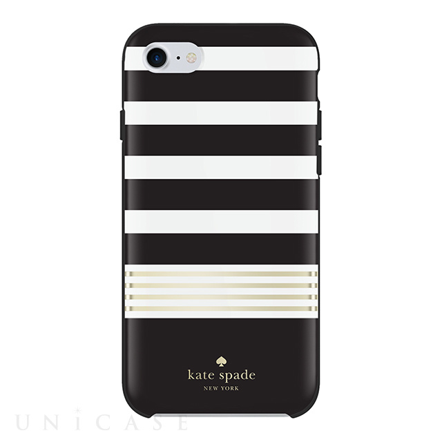 【iPhone8/7 ケース】Protective Hardshell Case (Stripe 2 Black/White/Gold Foil)