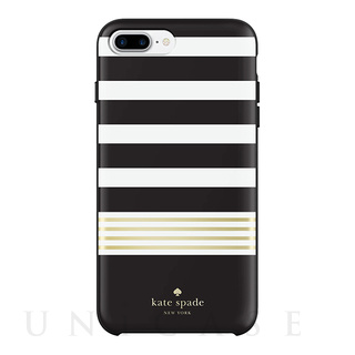 【iPhone8 Plus/7 Plus ケース】Protective Hardshell Case (Stripe 2 Black/White/Gold Foil)