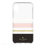 【iPhoneXS/X ケース】Protective Hardshell Case (Charlotte Stripe Black/Cream/Blush/Gold Foil)