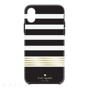 【iPhoneXS/X ケース】Protective Hardshell Case (Stripe 2 Black/White/Gold Foil)