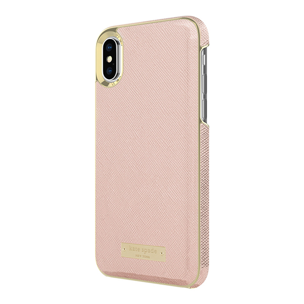 【iPhoneX ケース】Wrap Case (Saffiano Rose Gold/Gold Logo Plate)