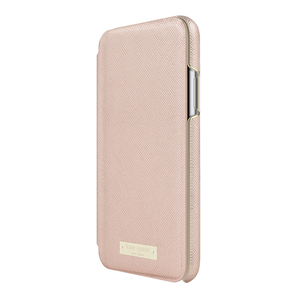 【iPhoneXS/X ケース】Folio Case (Saffiano Rose Gold/Gold Logo Plate)