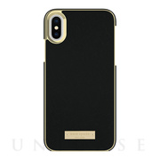 【iPhoneX ケース】Wrap Case (Saffiano Black/Gold Logo Plate)