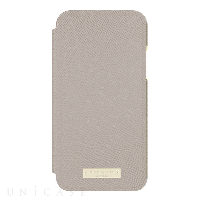 【iPhoneX ケース】Folio Case (Saffiano Clocktower Grey/Gold Logo Plate)