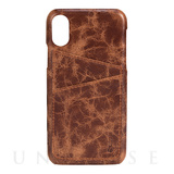 【iPhoneX ケース】TUMBA 2 Card Cover (Brown Marble)