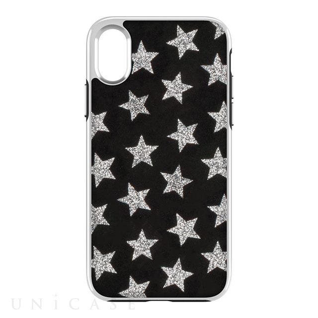 【iPhoneX ケース】Luxe Double Up Case (Leather Stars Black/Silver Glitter)