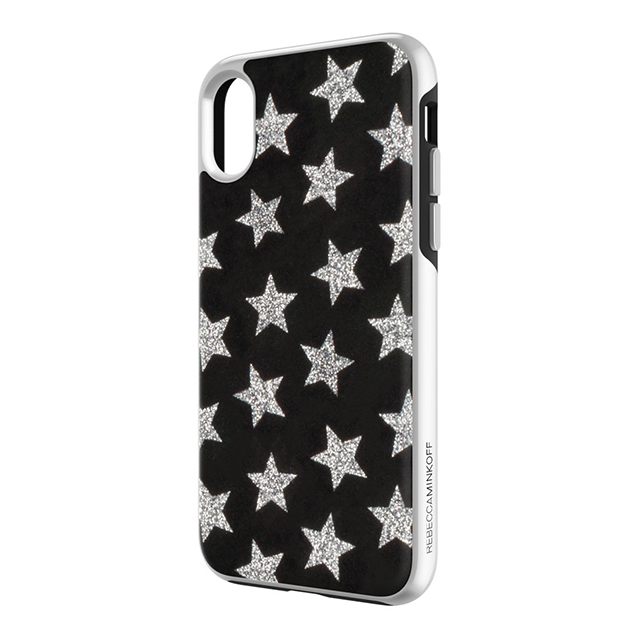 【iPhoneX ケース】Luxe Double Up Case (Leather Stars Black/Silver Glitter)サブ画像