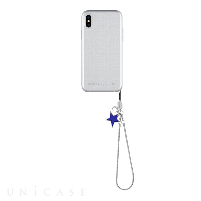 【iPhoneXS/X ケース】Leather Wrap Case with Charm (Metallic Silver/Star Charm)